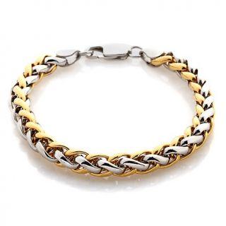 184 358 men s 2 tone stainless steel braided link bracelet rating 2 $