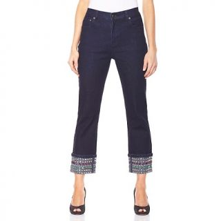 184 582 diane gilman jewels and studs cuffed boot cut cropped jeans