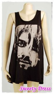 Kurt Cobain Nirvana Rock Punk Star v7 Mini Dress T shirt EMO Music S M