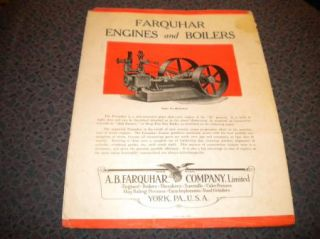 Farquhar Steam Engines Boilers catalog brochure Locomotive 1920s
