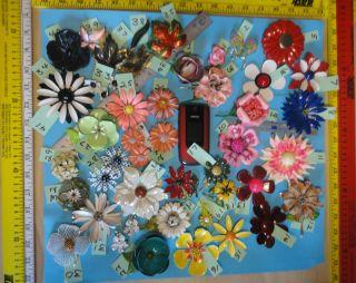 Enamel Flower pins / Brooch Lot 33 BIG Vintage RETRO Colorful   ROYCE