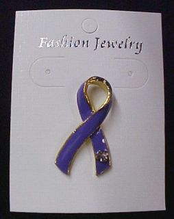 Relay for Life Purple Ribbon Austrian Crystal 4 Pins