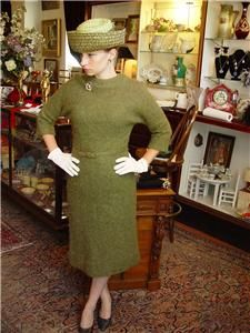 Mad Men 1960s Wiggle Dress and Hat Mossy Green Nancy Greer New York