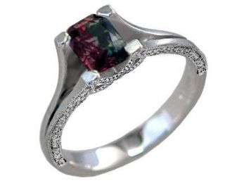 Platinum Natural Alexandrite Wedding or Engagement Ring Diamond Pave