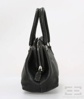 Fendi Selleria Black Topstitched Pebbled Leather Mini Doctor Bag