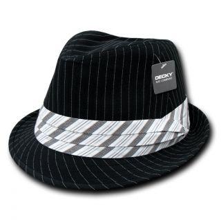Pin Stripe Pinstripe Woven Fedora Fedoras Hat Hats Band Sz L XL