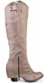 New Fergie Tan Ledger Too Leather Riding Boots Tall Knee High Size 5 $