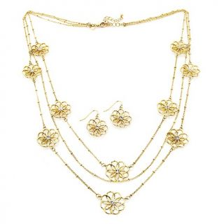 200 592 justine simmons jewelry flower crystal goldtone necklace and