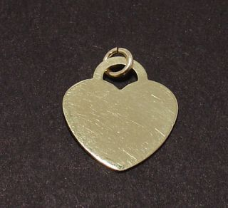 Solid Engravable Heart Charm Pendant 14k Yellow Gold