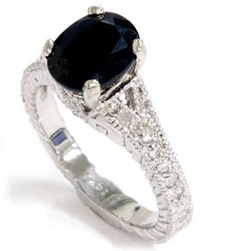 Black Sapphire Diamond Vintage Style Heirloom Hand Engraved Ring 14k