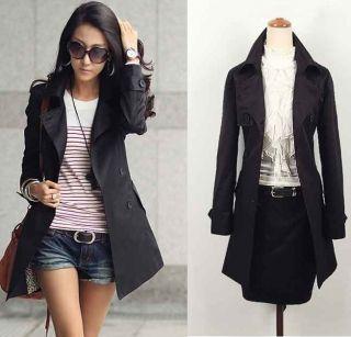 New Womens Korea Fashion OL Slim Double Breasted Trench Coat Jacket