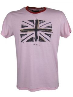 Mens Ben Sherman T Shirt Union Jack Flag Print Pink
