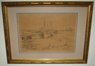 Vintage James F Murray Curhan Co Lith O Sketch on The Beach Cape Cod