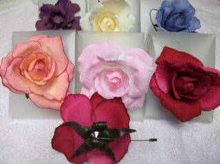 Fabric Flower Brooch Pin Clip for Women Girls