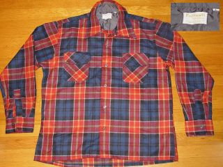 VTG SHIRT FERRANTI OF CALIFORNIA WOOL LOOP COLLAR PLAID ROCKABILLY