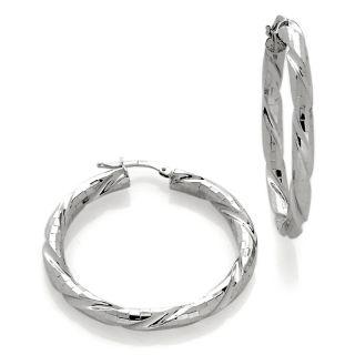 227 029 la dea bendata italian silver diamond cut twisted hoop