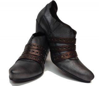 Brand New Fidji Italian Leather Handmade Metalic Grey Copper Heel Alea