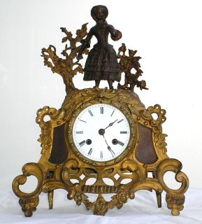 ANTIQUE 19th CENTURY FRENCH GILT BRONZE MANTEL CLOCK BY C F PETIT
