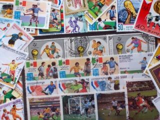 FIFA World Cup Brown Stamp Album with 50 Soccer Stamps