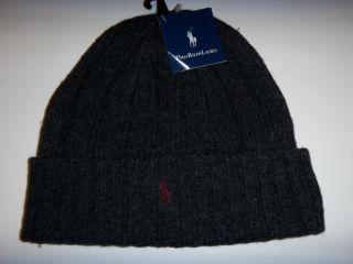 Lauren Pony Knit Ski Lambwool Skull Beanie Hat New Dark Gray