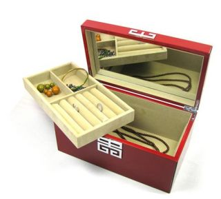 modern red lacquer wood jewelry box with lift out tray