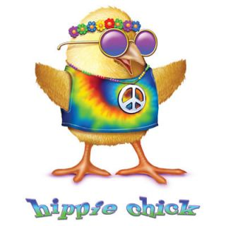 782A Hippie Chick Heat Transfer T Shirt Fabric Iron on Print Peace