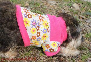 Cute Flower Fleece Canvas Pink Puppy Dog Coat Dog Clothes Apparel