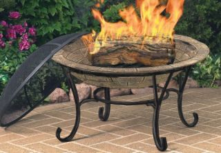 CobraCo FB6102 Round Cast Iron Brick Finish Fire Pit