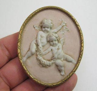Vintage Bisque Porcelain Cherub Angel Plaque 3D Relief Flowers Italy