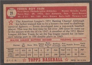 1952 Topps 21 Ferris Fain Philadelphia Athletics Low Number Red Back
