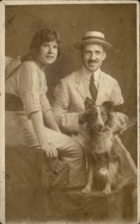 Man & Woman Pose w/ Dog Border Collie? C1910 Real Photo Postcard