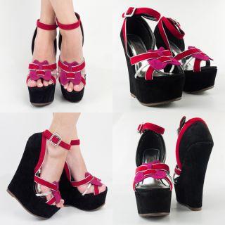 Blk Pink Red Silver Open Toe High Heel Platform Wedge Mary Jane Pump