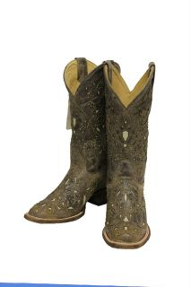 Ladies Corral Boots A1121 Brown Crater Bone Inlay w Studs Free