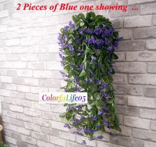 1x Violet Orchid Ivy Artificial Flower Hanging Plant Silk Garland Vine
