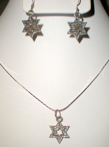 Holy Wall Jewish Star of David Necklace Earring Set
