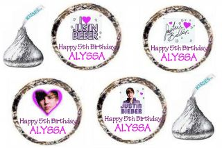 96 Justin Bieber Purple I Love Bieber Fever Birthday Party Kiss Favors