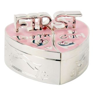 New Baby Girl Gift First Tooth Curl Box Pink Silver