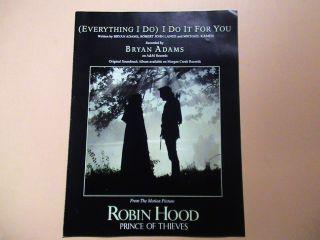 ROBIN HOOD Movie sheet music Bryan Adams  Everything I Do