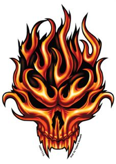 Flame Skull with Fangs Tribal Design Sticker  Y AD920