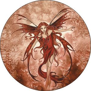 Amy Brown Fire Element Red Fairy Pin Button Fantasy New