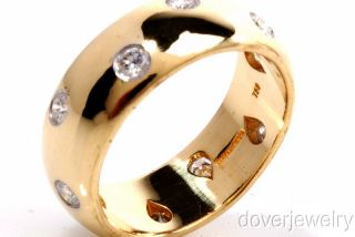 Tiffany & Co Etoile Diamond 18K Gold Platinum Wide Band Ring NR