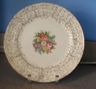 BEAUTIFUL VINTAGE 1936 EDWIN M KNOWLES 10 CHINA PLATE 22KT BORDER