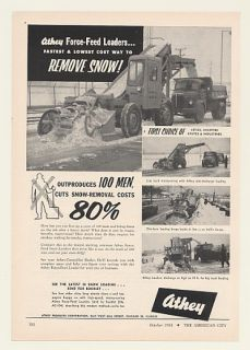 1954 Athey Force Feed Loader Snow Removal Print Ad