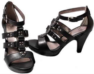 Sofft Womens Shoes Black Leather Castello T Strap Open Toe Dress