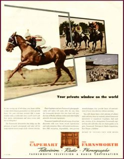 Horse Racing Scene in 1945 Capehart Farnsworth Radio Ad