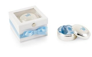 Baby Boy Silver Plate First Tooth and Curl Treasure Box, Blue Carriage