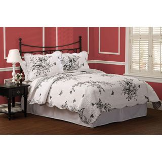 EVANS MEADOW Black White BUTTERFLY TOILE F QUEEN COTTON QUILT SET