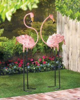 set of 2 flamboyant pink flamingo garden stakes