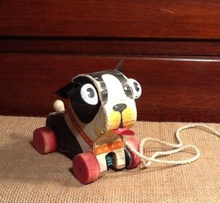 Vintage Fisher Price Barky Wooden Pull Toy