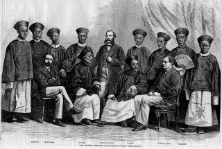 Chinese Embassy Interpreters 1868 Antique Chinese Print